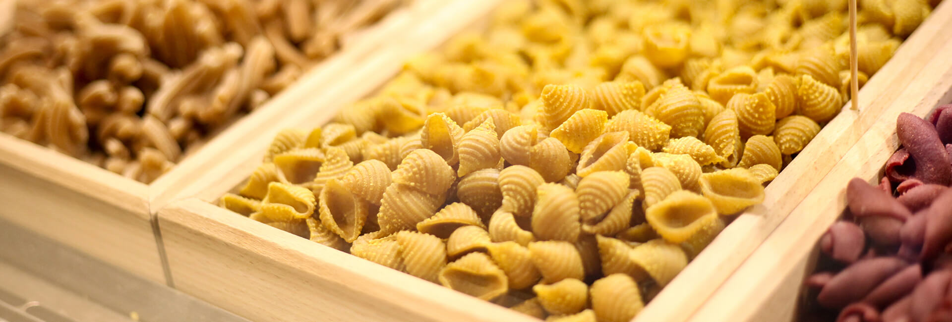 bins of grains and pasta