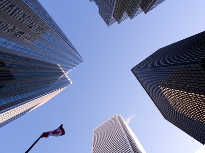 skyscrapers with flag of canada